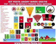 Kit grátis festa Angry Birds pronto para editar e imprimir! www.fazendo-festa.net
