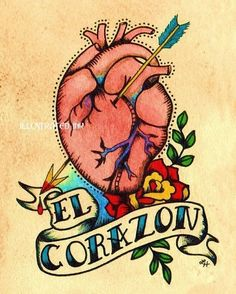 Anatomical Heart Tattoo Art EL CORAZON Loteria