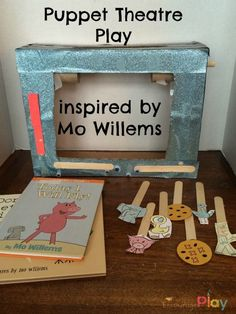 Puppet Theatre Show inspired by Mo Willems - Encourage Play - Mrs. J in the Library's note: Our Mo Willems books are always wearing out quickly, so this could be a great way to up-cycle the pages after the binding breaks. Preschool Books, Kindergarten Literacy, Pigeon Books, Mo Willems, Elementary Library, First Grade Reading, Author Studies, Library Lessons, Play Centre