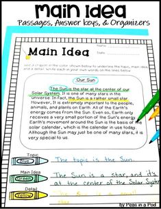 Practice locating the main idea and details by color coding nonfiction reading passages. When students can see the organization of a written paragraph, they can more easily identify the main idea. Check out these main idea worksheets. Teaching Main Idea, Teaching Reading, Teaching Ideas, Student Teaching, Learning, Reading Comprehension Worksheets, Reading Passages, Comprehension Strategies, Reading Sites