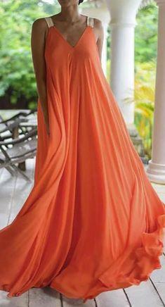 Fashion V neck Vest Chiffon Maxi Dresses Elegant Party Dresses, Glam Dresses, Fashion Dresses, Maxi Dresses, Maxi Outfits, Trendy Dresses, Vestidos Color Naranja, Floryday Vestidos, Chiffon Maxi Dress