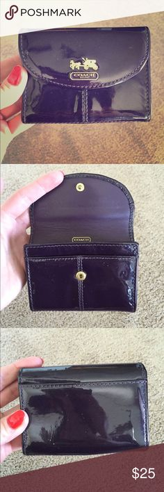 """Authentic Coach Card Holder! Gorgeous pre-loved dark purple patent leather Authentic Coach card holder. Brass Coach """"stamp"""" on the front, two card slots on the inside along with opening for business cards, hidden pocket under snap closure, and small card slot on back. Please note tiny marks where patent is beginning to come off (they look like white sparkles) and a blue """"sparkle"""" on up close photo #4. Coach Bags Wallets"""