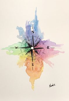 Watercolor, painting, etsy, compass, gift idea