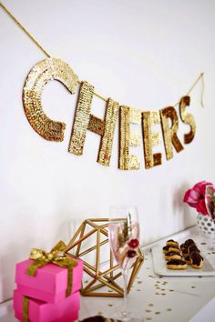 #party #cheers #banner #gold