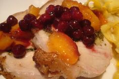 Stuffed Pork Loin with Lingonberries and Peaches