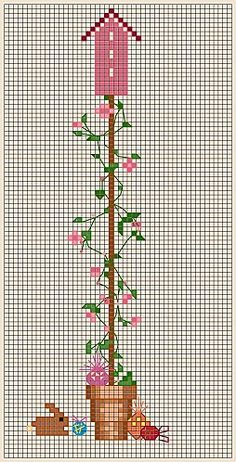 BIRDHOUSE---APRIL sweet pea free cross stitch chart