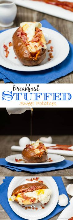 Breakfast Stuffed Sweet Potatoes, breakfast for champions!  cooks faster if you use a toaster oven.