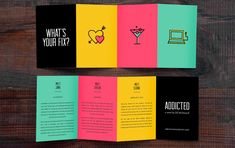 Addicted - Serafini Creative More -- Product Brochure Design Ideas & Templates Pamplet Design, Page Design, Layout Design, Print Design, Design System, Graphic Design Brochure, Brochure Layout, Brochure Template, Creative Brochure Design