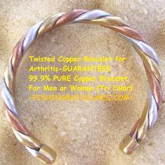 a81344b6ab Twisted Copper Bracelet for Arthritis- ONE TWIST IS GUARANTEED 99.9% PURE  Copper Bracelet For