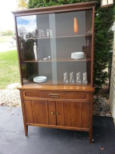 Mid Century Modern Solid Wood China Hutch Dining Buffet Cabinet Danish Retro Style By Bassett