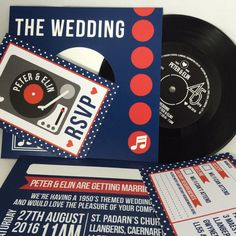 REAL Vinyl Record Wedding Invitations (can also be adapted for birthdays, or other occasions!) The perfect invitation for music/ vinyl lovers! Music Theme Birthday, Music Themed Parties, Music Party, Wedding Party Invites, Wedding Invitation Design, Party Invitations, Invitation Ideas, Wedding Dress, Custom Printed Labels