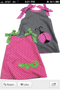 Kelly's Kids reversible alligator & ladybug dress--cute and preppy, next summer? Little Dresses, Little Girl Dresses, Girls Dresses, Sun Dresses, Sewing Kids Clothes, Sewing For Kids, Toddler Outfits, Kids Outfits, Kids Wear