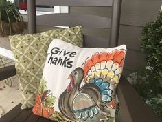 Fall Pillows, Burlap Pillows, Green Pillows, Thanksgiving Arts And Crafts, Fall Crafts, Fabric Painting, Canvas Fabric, Paint Party, Give Thanks