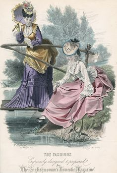 October fashions, 1873 England, The Englishwoman's Domestic Magazine  I love everything about this plate.  The outfit on the right appears to have a lot of idyllic late 18th century influence.