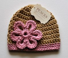 Baby Hats  Pink & Oatmeal Flower Baby Beanie by peacesbycortney, $28.00