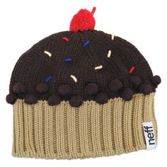 """Decorate your head with this cute cupcake beanie by Neff!  Highly sought after, and deliciously warm, the Neff Cupcake Beanie is the cherry on top of your winter outfit.  This cupcake is a baker's gift to your sweet tooth, and now Neff's Cupcake Beanie proves that it isn't just appetites that benefit from this delectable confectionery.Approx. 8"""" flat diameter Made of: 100% acrylic  Unlined  Cherry pom on top   Knitted sprinkles and frosting detailing  Size: 1-size fits most..."""