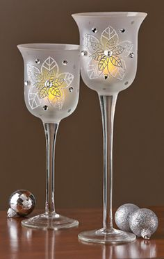 Frosted Glass Candle Holders w/ Silver Poinsettias