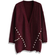Chicwish Beads Decorated Knitted Cardigan in Wine (3.175 RUB) ❤ liked on Polyvore featuring tops, cardigans, sweaters, jackets, outerwear, red, red open front cardigan, purple turtleneck, wine cardigan and purple top