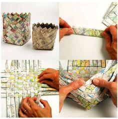 Cesto con papel reciclado Instrucciones: http://www.secomohacer.com/manu/taller/cestopapel1/index.htm