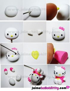 Hello Kitty from polymer clay FIMO tutorial