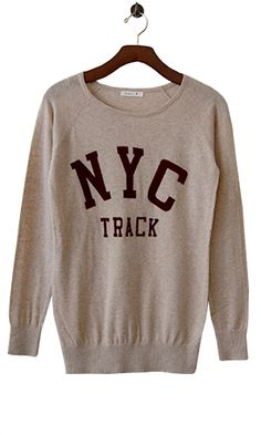 Collegiate Cool Sweater in Champagne.  Skinny jeans and ankle boots for a laid back weekend, or throw it on as a quirky counterpoint to a flirty dress and pretty pumps.