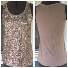 """EXPRESS Sequin Long Tank Top EXPRESS Sequin Long Tank Top.   Sequin adorned front.  Sleeveless.  Taupe, light brown.  Front: polyester, back: cotton material.   Pit-to-pit 15-1/2"""".  Length 25"""" (shoulder to hem).  Excellent condition. Express Tops Tank Tops"""
