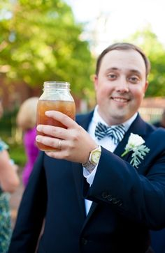 Signature Drink Ideas: Unique mason jars for wedding day glasses #drinks #beverages #rustic #mason  Photo by: Rebekah Hoyt Photography on Bayside Bride