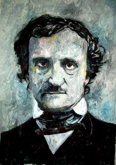 """""""Poe"""" Edgar Allan Poe - mixed media - 28x40 inches - Original art by Marcelo Neira"""