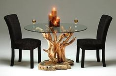 Juniper Dining Table with Glass Top - Shown Round with Buckeye Burl Base - Beautiful burl wood supports flowing juniper branches topped with  barked edge glass - Item #DT00575 - Available Square or Rectangle - Barked or Polished Glass Edge Options - Can Be Color Finished - Custom Sizes - Each is unique - Every one a work of art!