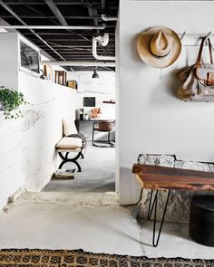 """A Basement-Turned-Office Reveal (+ 7 Steps For How to Pull Off """"Edgy Neutral"""") - Emily Henderson Basement Office, Loft Office, Basement Ideas, Basement Bars, Basement Studio, Garage Office, Garage Loft, Basement Apartment, Basement Makeover"""