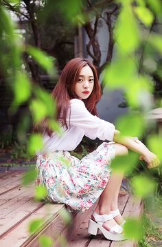 Korean fashion - white blouse and floral skirt