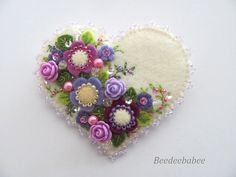 Felt Heart Brooch / Felt Heart Pin by Beedeebabee on Etsy