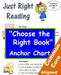 """This colorful chart is a perfect wall reference for helping students self-select the """"just right"""" book in grades 3, 4 and 5. Common Core aligned. By Betsy Weigle from Classroom Caboodle."""