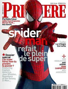 Extraits du sommaire de Première N°444 février 2014. En couverture Spiderman returns. Les nouveaux défis  des superhéros