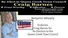 Benjamin Wheatly endorses Craig Barnes For Re-Election Queen Creek Town Council http://www.cbarnes4qc.com/about-1.html?utm_content=bufferc0376&utm_medium=social&utm_source=facebook.com&utm_campaign=buffer #QueenCreek #QueenCreekTownCouncil #TownCouncilQueenCreek