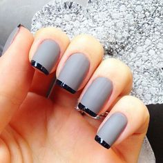 gray nails, black french tips--thin red, white or silver line. thicker black tip.
