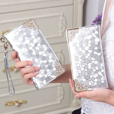 wholesale long clutch wallet fashion silver patent leather stone pattern PU Leather purse money Bag Coins Holder elegant DL1944 *** Click the image to view the details