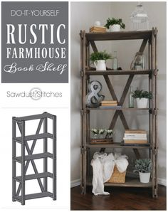 Rustic Farmhouse Book Shelf - Sawdust 2 Stitches