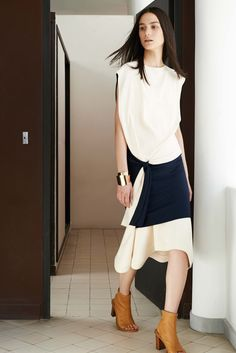 Chloé // contrast dress, metal cuff bracelet & open toe ankle boots #style #fashion