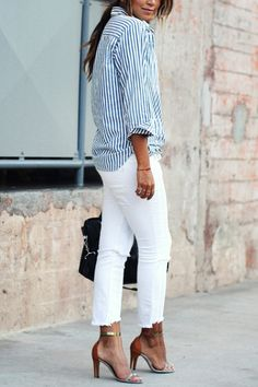 The jeans are created with enjoyable material. As a wear that is traditional, the most usual women's jeans are. To summarize, the white denim jeans of women provide women an excellent fashion statement. Blue Striped Shirt Outfit, Blue Shirt Outfits, Outfits Con Camisa, Outfits With Striped Shirts, Blue And White Striped Shirt, White Denim, Denim Outfits, Blue Blouse, Plus Size Shirts