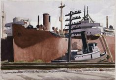Hopper, Edward (Docked Freighter and Tugboat) ca. 1934-1938 - Whitney Museum of American Art