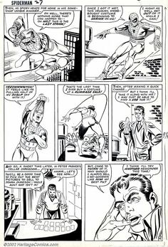 Steve Ditko - Original Art for The Amazing Spider-Man page 16 (Marvel, Some superheroes just can't - Available at 2002 October Comic Auction Marvel Comic Books, Comic Books Art, Comic Book Artists, Comic Artist, Steve Ditko, Black White Art, Comic Page, My Favorite Image, Amazing Spider