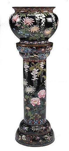 Antique Jardiniere Porcelain Pedestal Stand