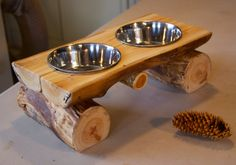 Log Dog Diner Pet feeder Pet bowl Elevated by AspenSpirit