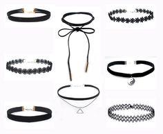 3314bc08c 8 Pcs Fashion Chokers Set Black Lace Velvet Chokers Necklace For Women  Harajuku Ribbons Necklaces Charms