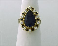 Antique 14k Gold Diamond Blue Stone Enamel Ring