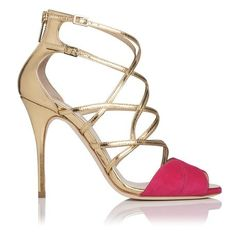 Jolie Metallic Leather and Suede Strappy Sandal