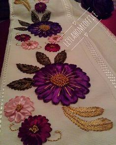 Hayırlı akşamlar #goodnight#decoration #havlu #bohça#Seccade #kurdele#ribbon #söz #nişan#düğün #purble #followme #instalike #instagood #instagram #like4like #leylahomeoffice #homesweethome #decor #bohçasüsü#hediyelik Embroidery Flowers Pattern, Silk Ribbon Embroidery, Flower Patterns, Embroidery Stitches, Hand Embroidery, Diy And Crafts, Arts And Crafts, Kutch Work, Diy Curtains