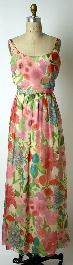 Floral-print silk chiffon evening dress with low scoop back, by Mainbocher, American, 1960s.