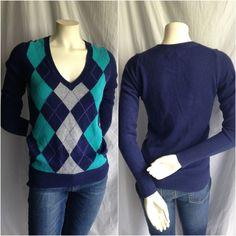 OLD NAVY XS Womens ARGYLE Sweater BLUE Turquoise Rabbit HAIR Angora Jumper GRAY #OldNavy #VNeck